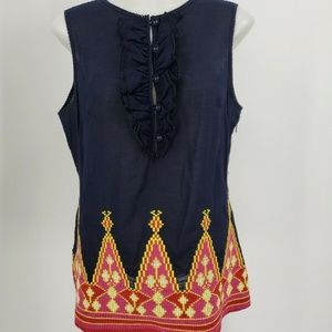 Tory Burch Ruffle Aztec Tribal Embroidered Tunic